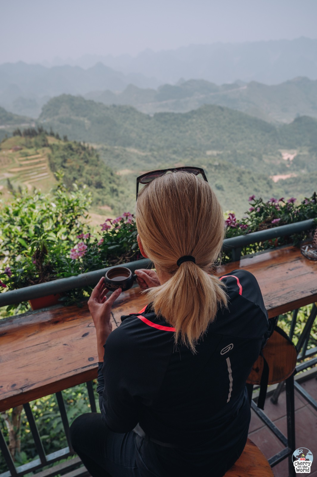 sipping coffee on a terrace with a beautiful view in Vietnam
